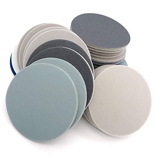 RWJFH papel de lija Disco de lijado de papel de lija de esponja de lijado de 12 piezas de 5 pulgadas en húmedo yVelcro de gancho y bucle seco, grano 300-3000 para pulido, esmerilado, 3000