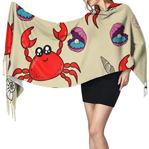 """Cangrejo Alicates pequeños Beach Crawl Bufanda suave Cachemira Bufandas de cachemira Chales y abrigos 77""""x27 / 196x68cm Pashmina suave grande extra cálido"""