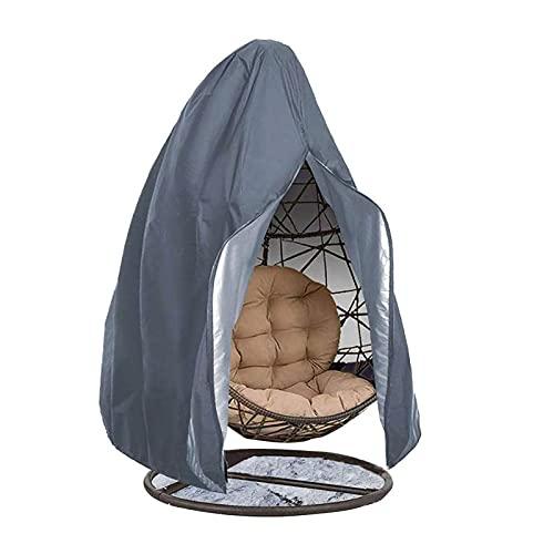 QWEASDF Patio Hängesessel Beige, Person Egg Chair Cover, Large Wicker Egg Swing Chair Covers, Outdoor Pod Double Chair Cover, Wasserdicht, ganztägiger Schutz,Grau,D115*H190cm