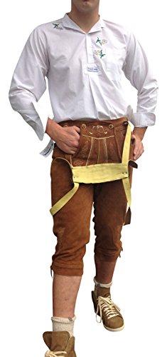 By Johanna Trachtenlederhose Herren Kniebund bayerische Lederhose Herren Tracht Trachtenhose Oktoberfest Braun Leder 48