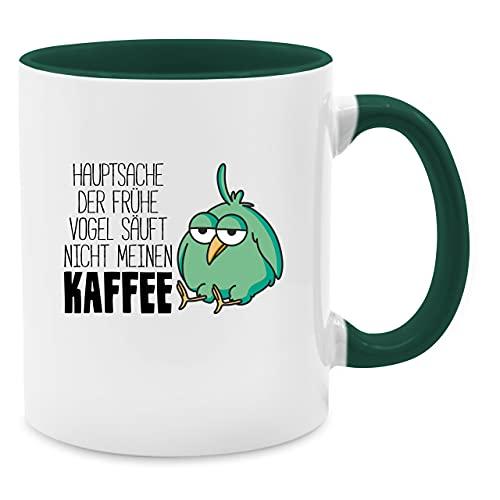 Tasse mit Spruch - Hauptsache der frühe Vogel säuft Nicht Meinen Kaffee - Unisize - Petrolgrün - Tasse vögel - Q9061 - Tasse für Kaffee oder Tee