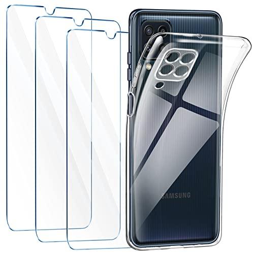 LeathLux Funda Compatible con Samsung Galaxy M32 4G, 3 Pack Protector de Pantalla Samsung Galaxy M32 4G, Transparente TPU Silicona Funda con Cristal Vidrio Templado y Carcasa Samsung Galaxy M32 4G