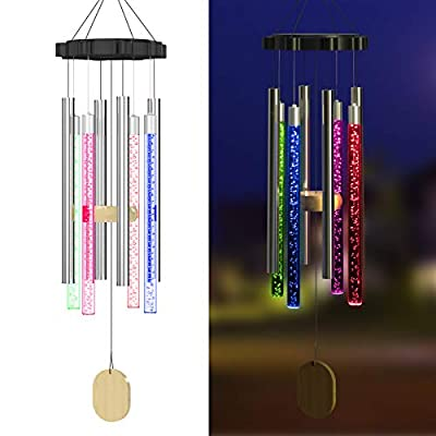 Njeury Solar Wind Chimes Lights Outdoor, Color Changing RGB LED Hanging Lights with Metal S Hook, IP65 Waterproof, for Outside, Garden, Patio, Yard Decor, Housewarming Gifts, Birthday Gifts