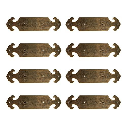 Tiazza 8Pcs Vintage Style Antique Brass Embossing Decorative Corner Protectors Classical Furniture Corner Braces Guard Edge Cover
