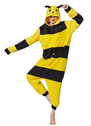 FunnyCos - Pijama unisex con capucha para adulto Amarillo Abeja L