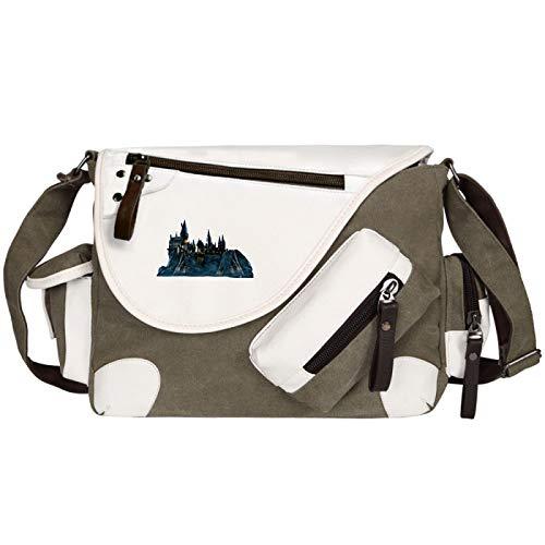 Multi-Pocket Messenger Bag Youth Canvas School Bag Shoulder Bag Suitable For Elementary And Middle School Students Castle Green