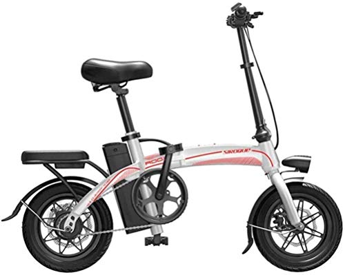 Bicicleta eléctrica de nieve, Bicicletas eléctricas rápidas for adultos de 14 pulgadas de ruedas portátil ligero marco acero de alto carbono bicicleta eléctrica 400W de motor sin escobillas con extraí