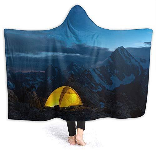 YOLIKA Tragbar Kapuzendecke Plüsch Wickeln,Twilight Mountain Panorama und Zelt,Sanft Warm Vlies Decke werfen Mantel Gemütlich für Couch Bed Home Travel, 80