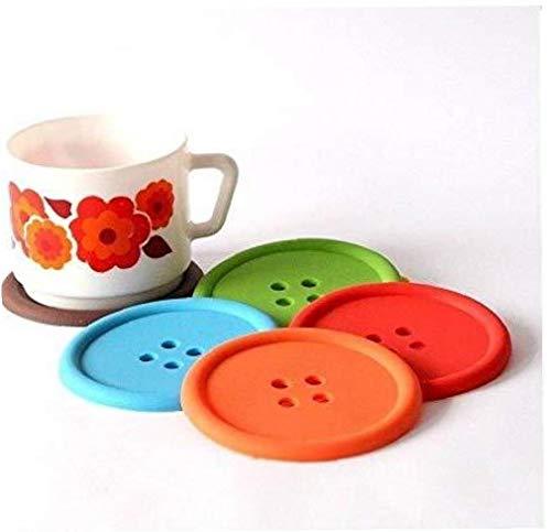 Aisoway Botón de Silicona de Colores Taza de la Bebida Posavasos Mesa de café manteles Individuales 4 PC /