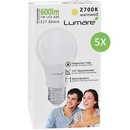 5er Sparset Lumare E27 LED Lampe 7W Ersetzt 60w 600 Lumen Watt Glühbirne A60 Leuchtmittel 2700 Kelvin warmweiß Fassung