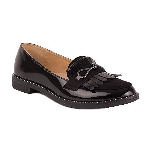 Loafer Damen Mokassins mit Fransen, Lack schwarz, quadratischer Absatz mit silberfarbenen Nieten, Sohle aus Leder, Schwarz - Schwarz - Größe: 38 EU