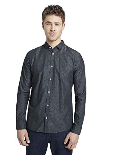 TOM TAILOR Herren Blusen, Shirts & Hemden Strukturiertes Hemd mit schmalem Kent-Kragen Navy Stripe with Dobby,XL