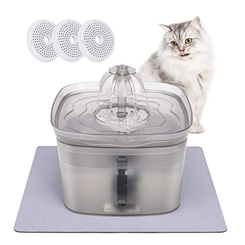 Cat Water Fountain , 84oz/2.5L Super Quiet Automatic Pet Drinking Fountain with LED Indicator, Six Free-Falling Stream Aerates Providing Clean Running Water