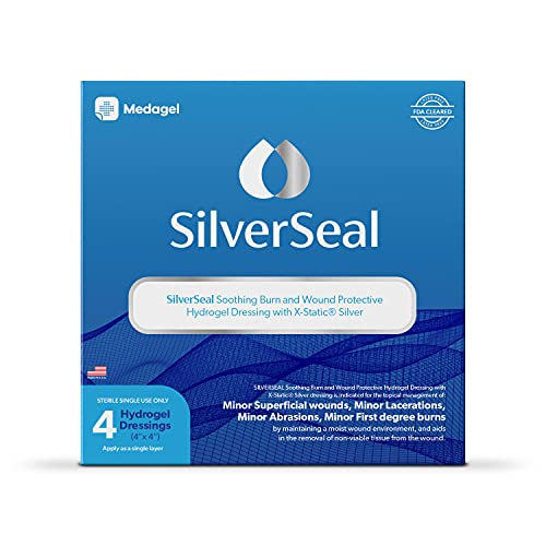SilverSeal Burn and Wound Dressing | Hydrogel Pads with X-Static Silver | Soothing, Moist & Protective | Burns, Cuts & Wounds | 4 Sterile Dressings