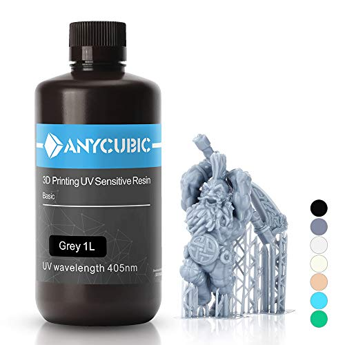 ANYCUBIC 3D Printer UV Resin 405nm Rapid Photopolymer for Photon/S Liquid 3D Resin Universal High Precision for LCD/DLP/SLA 3D Printers, 1L Grey