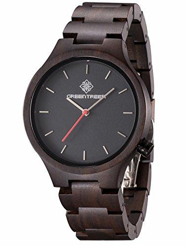 GreenTreen Uomini orologi braccialetto in legno per uomini con movimento in quarzo giapponese Orologio da regalo per gli uomini
