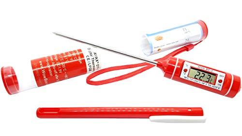 AVAX DT-1–LCD digitale termometro per alimenti da cucina, Sonda per carne, bistecche, tacchino, barbecue, Yerba Mate, casa e vino making. Intervallo di temperatura: -50C a 300C/-58F to 572F–13cm di lunghezza sonda in acciaio inox, tappo di protezione e 1x LR44batteria inclusa