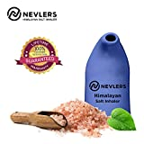 Nevlers All Natural Ceramic Himalayan Salt Inhaler with All Natural Himalayan Pink Crystal Salt - Great for Allergy and Asthma Relief - Handheld and Portable - Cobalt