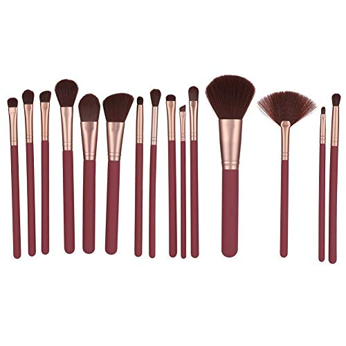 Make-up Pinsel, 15 Stück Weinrot Professionelle Weiches Haar Kosmetik Pinsel Foundation Puder Lidschatten Pinsel Set