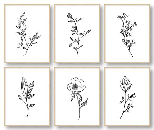 Botanical Plant Wall Art Prints, Minimalist Wall Art, Black and White Wall Art, Plant Wall Decor, Bathroom Wall Decor, Kitchen Wall Decor (Set of 6, 8X10in, Unframed)