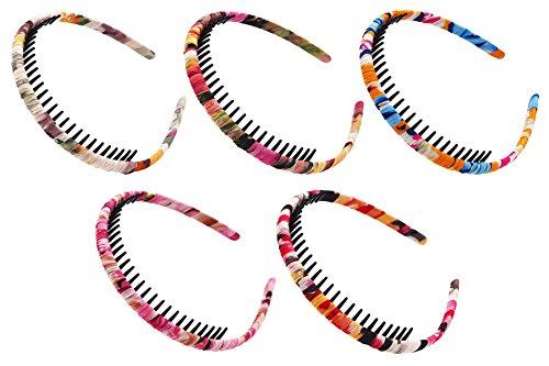 STHUAHE Woman 5PC Bohemia Style Protection Resin Teeth Comb Hair Hoop Hairband Headband Hair Accessories by Beauty Hair (5 Color)