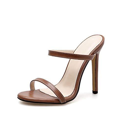 LBYB Sandalias de tacón alto para mujer, sandalias de tacón alto, a la moda, pequeñas, medianas y grandes, para trabajo, reuniones, noches, salidas, fiestas y más, marrón, 37