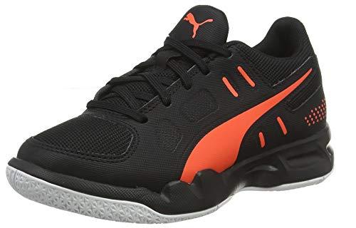 Puma Unisex Auriz Jr Black-Nrgy Red White Badminton Shoes-4 UK (37 EU) (5 Kids US) (10563801)