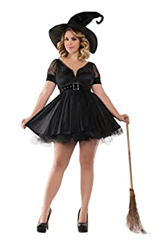 Party King Women s Plus Size Bewitching Pin-Up Witch Costume Black 2X