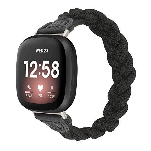 【Amazon限定ブランド】Wearlizer Fitbit Versa3 バンド/Fitbit Senseバンド Fitbit Versa3/Fitbit Senseに対応 【2021年最新スタイル】Fitbit Versa3 デッドソロループ 編組バンド スポーツバンド 交換ベルト 柔らかいシリコーン糸混紡リサイクルヤーン素材 耐衝撃 防汗(ブラック L)