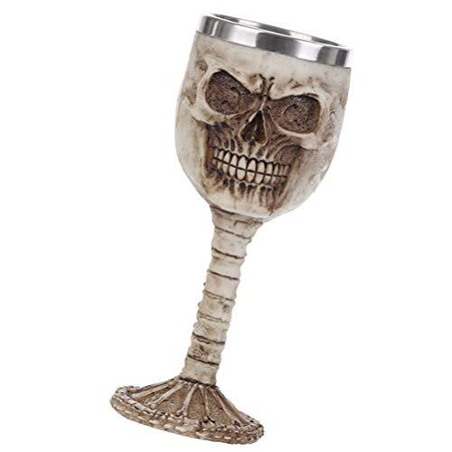 Wakauto Copa de Vino de Halloween Cráneo de Resina Copas de Vino Inserto de Acero Inoxidable Copas Cabeza de Esqueleto Cáliz Utensilios de Bebida para Vino Tinto Champán Whisky Casa
