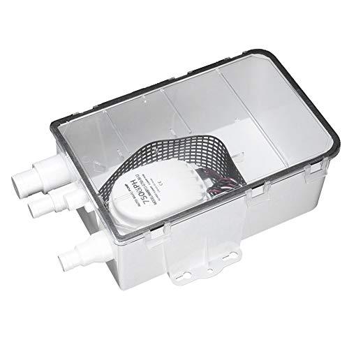 Emoshayoga Sistema de sumidero de ducha, bomba de sumidero de ducha, función de protección de encendido, sumidero de ducha de 750GPH, fácil limpieza, válvula de retención integrada para marina