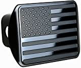 USA US American Stainless Steel Flag Metal Emblem on Metal Trailer Hitch Cover (Fits 2' Receivers, Black)