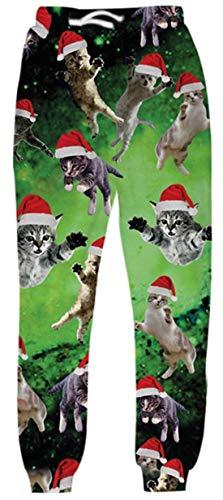 UNIFACO Men Women Ugly Xmas Christmas Jogger Pants Sports Casual Graphic Drawstring Waist Trousers Sweatpants