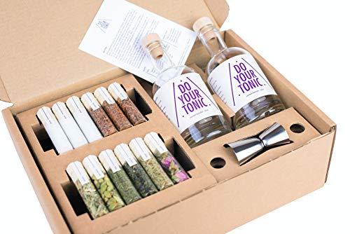 DO YOUR TONIC | Tonic Water Set zum selber-machen | Gin Tonic Sirup Cocktail | 12 Botanicals in schönen Gewürz-Gläsern | Perfektes Gin Gewürz Geschenk für Männer | by DO YOUR GIN®