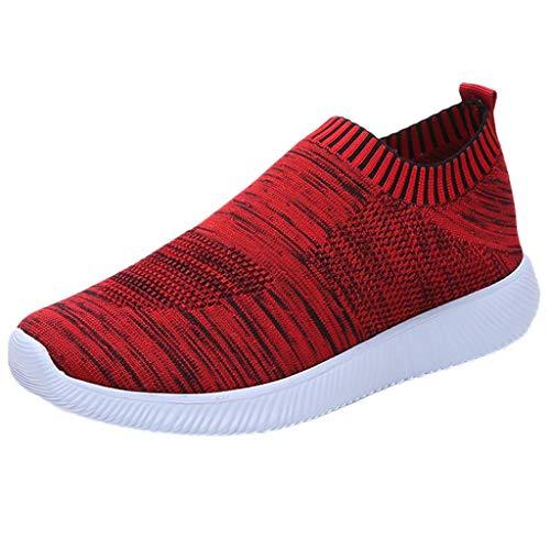 YWLINK Damen Socken Schuhe Outdoor Schuhe Freizeit Slip On Bequeme Sohlen Sports Licht Atmungsaktiv Mesh Sneakers Laufschuhe Turnschuhe Fitnessschuhe Bequeme Schuhe(Rot,40 EU)