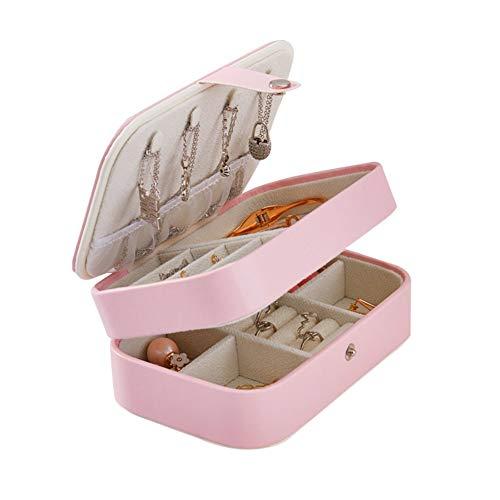 LYsng Caja Joyero NiñA 2 Niveles PU Cuero Joyero De Viaje Portátil Cajas Y Organizadores De Joyas para Anillos, Aretes, Pendientes, Pulseras Collares Expositor Viaje Pink