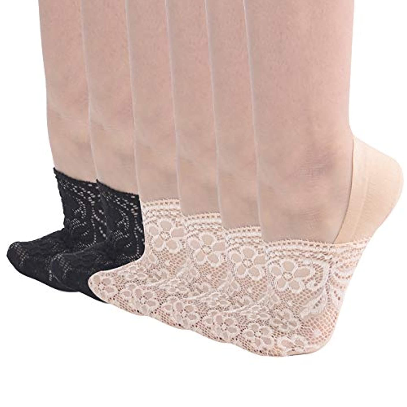 Soxbang Women's 6 Pairs Floral Lace No Show Socks Cotton Bottom Nonslip Heel Grip