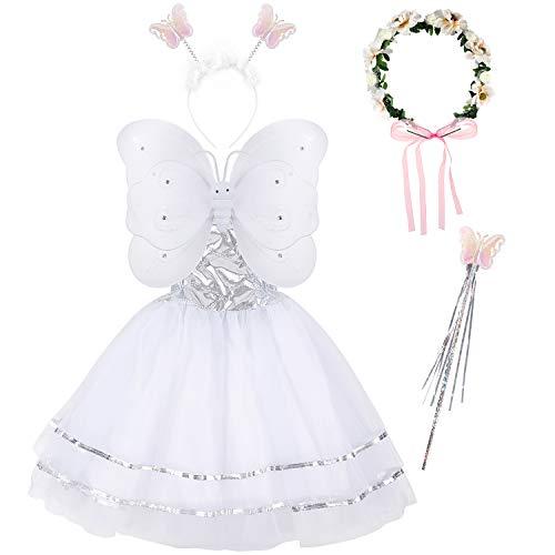 Tacobear 5 Pezzi Costume Fata Bambina con Bacchetta Magica Ali Farfalla Fascia per Capelli Coroncina Fiori Fata Abito Costume Farfalla Fatina Principessa Festa Compleanno per Bambina Bambini (Bianco)