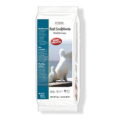 Modelliermasse lufttrocknend weiß, 1kg - Best Sculptures - Klassische Modelliermasse selbsttrocknend, selbsthärtend, lufthärtend ohne Brennen