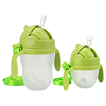 Weighted Straw Sippy Cup Conversion Kit Compatible for Comotomo Baby Bottle 5 Ounce and 8 Ounce  2 Packs Green
