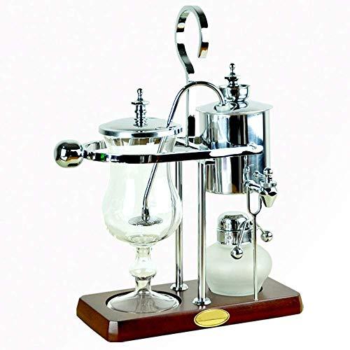 CENPEN Vakuum-Kaffeemaschine Retro-Stil Kaffeekanne Edelstahl Siphon Kaffeemaschine Haushalt Grinder Set Kaffee Appliance (Farbe: Silber, Größe: 35.5x10cm)