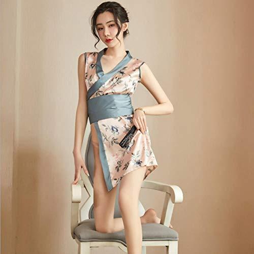 HLZJ Erotische Nachtwäsche Erotische Dessous-Sets Nachtleben Japanisch sexy Dessous Kimono Erwachsene heiße dünne Abschnitt sexy Pyjamas weiblich Xia Bingsi lose Robe