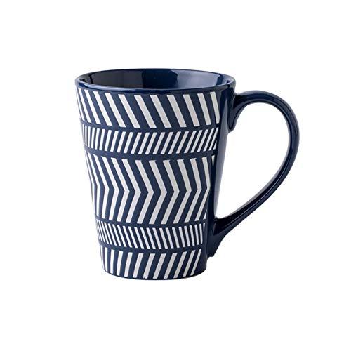Xu Yuan Jia-Shop Kaffeebecher Persönlichkeit Kreativer Big Cup Handgemalte Design Keramik MUP Großkaliber geprägte Kaffee MUP Geometrische Muster Milch MUP Multifunktionsbecher 450ml Tee-Tasse