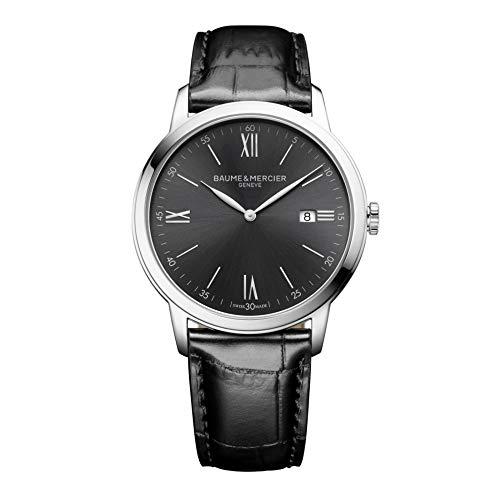Baume & Mercier My Classima - Reloj de hombre con esfera de pizarra, caja de acero, correa de piel negra