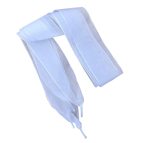 Spitze Satin Schnürsenkel Schuhsenkel Schuhband Sportsschuhe Flache Flachsenkel 110cm (Weiß)