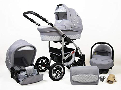 Kinderwagen 3in1 2in1 Set Isofix Buggy Babywanne Autositz New L-Go by SaintBaby Silver Wave 3in1 mit Babyschale