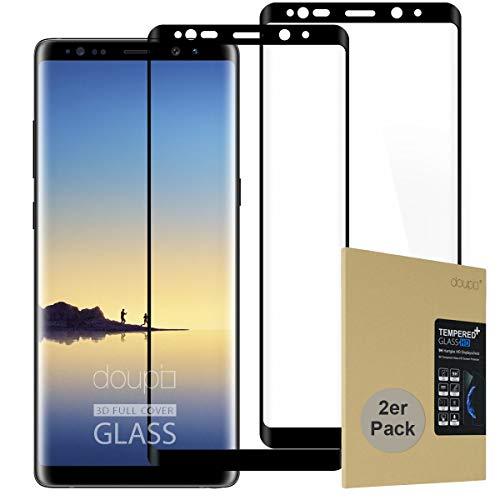 doupi 2X FullCover Pellicola Vetro Temperato per Samsung Galaxy Note 8, [2-Pack] Premium 9H Vetro Temperato HD 2.5D Anti-Impronte Anti-graffio Ultra-Clear Protezione dello Schermo Protettiva, Nero