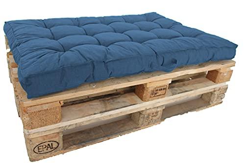 Ambientehome Palettenkissen Kastenkissen Loungekissen 120 x 80 cm blau/grau Auflagen,65 Prozent Baumwolle, 35 Prozent Polycotton