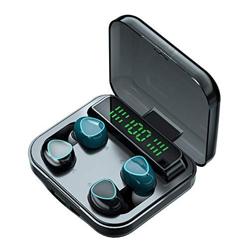 SUN JUNWEI Auriculares inalámbricos Bluetooth 5.1 con 4 Auriculares Reducción de Ruido CVC 8.0 IPX7 Auriculares Impermeables en el oído Control táctil, para Android e iOS