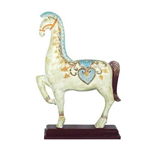 CAPRILO Figura Decorativa de Madera Caballo con Base. Adornos y Esculturas. Animales. Decoración Hogar. Regalos Originales. 65 x 43 x 13 cm.